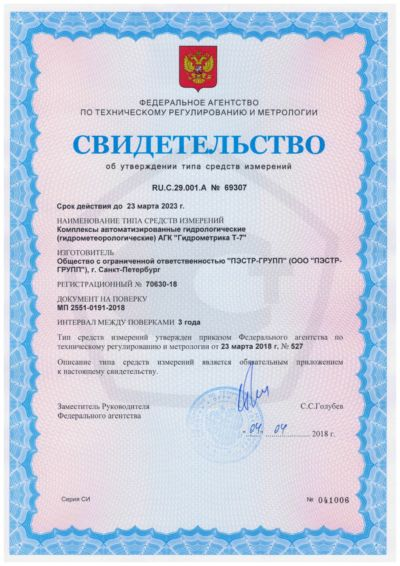 Гидрометрика Т-7 сертификат СИ